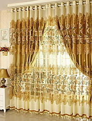 Curtain Flower Patterned European , Floral / Botanical Living Room Material Blackout Curtains Drapes Home Decoration For Window