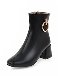 Women's Shoes Leatherette Winter Novelty Fashion Boots Boots Chunky Heel Round Toe Mid-Calf Boots Lace-up For Wedding Casual Black White
