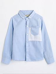 cheap -Boys' Solid Shirt, Cotton Fall Long Sleeves Blue