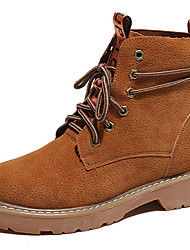 cheap -Women's Shoes Suede Winter Spring Fall Cowboy / Western Boots Combat Boots Boots Flat Heel Booties/Ankle Boots Lace-up for Casual Outdoor