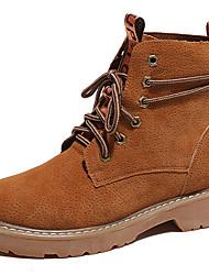 baratos -Mulheres Sapatos Camurça Primavera / Outono / Inverno Botas Cowboy / Country / Coturnos Botas Sem Salto Botas Curtas / Ankle Cadarço Preto / Marron / Verde