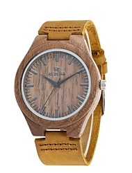 Men's Fashion Watch Wood Watch Japanese Quartz Wooden Genuine Leather Band Charm Vintage Casual Elegant Brown