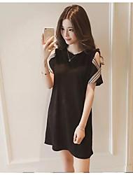 cheap -Women's Plus Size Cotton Loose A Line Dress - Solid Colored Black, Classic Style