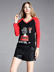 YIYEXINXIANG Women's Going out Simple Fall T-shirt,Print Letter V Neck Long Sleeves Cotton Spandex