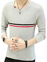 cheap -Men's Daily Plus Size Regular Pullover,Color Block Round Neck Long Sleeves Cotton Winter Fall Medium Micro-elastic
