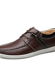 cheap -Men's Shoes Real Leather Cowhide Spring Fall Driving Shoes Formal Shoes Comfort Sneakers For Casual Office & Career Dark Brown Light