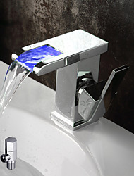 cheap -Bathroom Sink Faucet - Waterfall Color-Changing Chrome Deck Mounted Single Handle One Hole