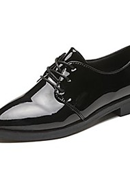 cheap -Women's Shoes Patent Leather Fall Comfort Oxfords Low Heel Pointed Toe Lace-up For Outdoor Burgundy Black