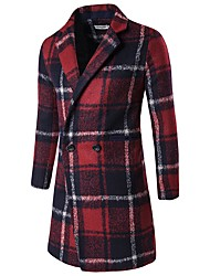 Men's Going out Casual/Daily Cute Sexy Street chic Winter Trench Coat,Plaid Notch Lapel Long Sleeve Long Cotton Polyester