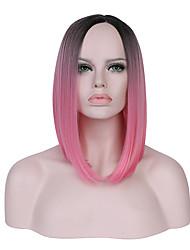 жен. Без шапочки-основы Короткий Прямые Черный/розовый Черный / Темно-зеленый Волосы с окрашиванием омбре Природные волосы Стрижка боб