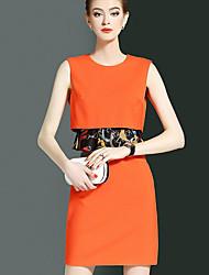 Women's Work Simple Sheath Dress,Solid Round Neck Above Knee Sleeveless Cotton Summer Mid Rise Micro-elastic Medium