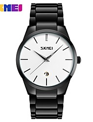 SKMEI Men's Wrist watch Quartz Stainless Steel Alloy Band Minimalist Black Silver