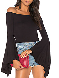 Women's Daily Going out Cute Sexy Winter Fall T-shirt,Solid Boat Neck Long Sleeves Polyester Medium