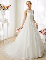 A-Line Princess Illusion Neckline Court Train Lace Wedding Dress with Beading Appliques by LAN TING BRIDE®