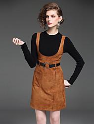 Dámské Jednobarevné Běžné/Denní Práce Sofistikované Trička Sukně Obleky-Podzim Kulatý Dlouhý rukáv Mikro elastické