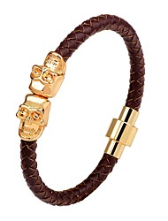 Men's Leather Bracelet Punk Hip-Hop Leather Alloy Circle Skull / Skeleton Jewelry For Stage Club
