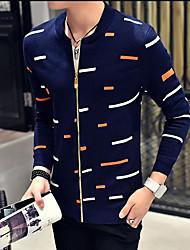 cheap -Men's Work Regular Cardigan,Print Round Neck Long Sleeves Others Spring Fall Medium Micro-elastic