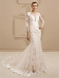 cheap -Mermaid / Trumpet Plunging Neckline Chapel Train Lace Tulle Wedding Dress with Appliques by LAN TING BRIDE®