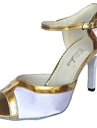 cheap -Women's Latin Satin Sandal Indoor Customized Heel White White/Silver