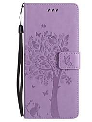 Capinha Para Samsung Galaxy NNote 8 Note 5 Carteira Porta-Cartão Com Suporte Flip Com Relevo Corpo Inteiro Gato Borboleta Árvore Rígida