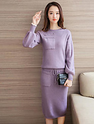 Women's Casual/Daily Simple Fall T-shirt Skirt Suits,Solid Round Neck Long Sleeve Micro-elastic