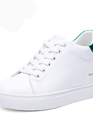 cheap -Women's Shoes Leatherette Spring / Fall Gladiator Sneakers Walking Shoes Wedge Heel Round Toe Lace-up White / Black / Green