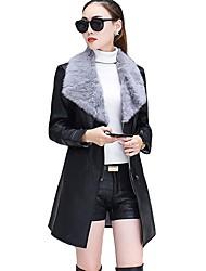 Недорогие -Для женщин На каждый день Зима Пальто с мехом Воротник Питер Пен,Простой Однотонный Длинная Длинный рукав,Полиуретановая