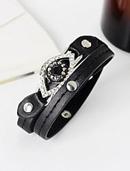 preiswerte -Damen Lederarmbänder - Leder, Strass Böses Auge Personalisiert, Modisch Armbänder Schwarz Für Halloween / Normal