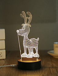 cheap -1 Set, Popular Home Acrylic 3D Night Light LED Table Lamp USB Mood Lamp Gifts, Deer
