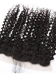 Недорогие -бразильская фигурная волна 13x4 ухо к уху человеческие волосы кружева передняя закрытие детские волосы бесплатно часть путь