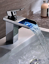 Contemporary Vessel Waterfall Color-Changing Ceramic Valve Single Handle One Hole Chrome , Bathroom Sink Faucet