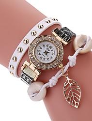 Mulheres Relógio de Moda Bracele Relógio Simulado Diamante Relógio Chinês Quartzo PU Banda Vintage Folhas Casual Elegantes Preta Branco