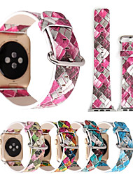 cheap -For Apple Watch iWatch  series 3 2 1 Colorful Plaid Genuine leather Band Strap & Adapter 38mm 42mm