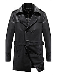 cheap -Men's Daily Street chic Winter Trench Coat,Solid Square Neck Long Sleeve Regular Lambskin