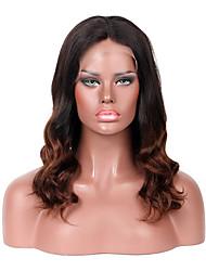 Women Human Hair Lace Wig Brazilian Remy Lace Front 130% Density With Baby Hair Wavy Wig Black/Medium Browm Medium Length Virgin