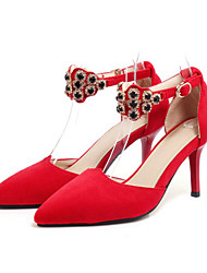 cheap -Women's Shoes Suede Spring Fall Comfort Novelty Heels Stiletto Heel Pointed Toe Crystal Rivet Buckle For Wedding Party & Evening Red Black