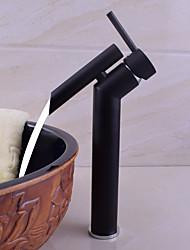 Traditionell/Vintage deckenmontiert Regenfall Gute Qualität with  Keramisches Ventil Ein Loch for  Schwarz , Waschbecken Wasserhahn