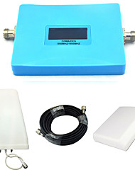 Intelligent Display Dual Band Mobile Phone 850mhz 1800mhz Signal Booster CDMA DCS Signal Repeater with Panel Antenna / Log Periodic Antenna / Blue