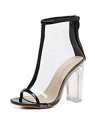 Women's Sandals Summer Fall Comfort Novelty Club Shoes Tulle PU Wedding Outdoor Dress Casual Party & Evening Chunky Heel Block HeelZipper