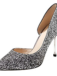 cheap -Women's Shoes PU Spring Summer D'Orsay & Two-Piece Basic Pump Heels Stiletto Heel Cone Heel Pointed Toe Closed Toe Sequin For Wedding
