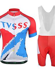 economico -Per uomo Manica corta Maglia con salopette corta da ciclismo - Bianco Nero Rosso Bicicletta Set di vestiti, Asciugatura rapida, Pad 3D