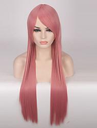 preiswerte -Synthetische Perücken Glatt Synthetische Haare Rosa Perücke Damen Lang Cosplay Perücke Kappenlos