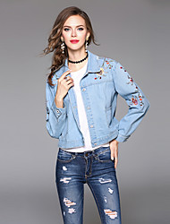 Maxlindy Women's Holiday Going out Casual/Daily Simple Vintage Street chic Fall Winter Denim JacketSolid Shirt Collar Long Sleeve Regular Cotton