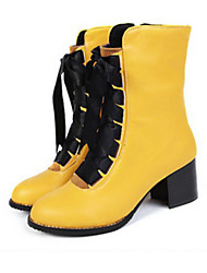 Women's Shoes PU Spring Summer Comfort Novelty Fashion Boots Boots Flat Heel Round Toe Booties/Ankle Boots Lace-up For Dress Office &