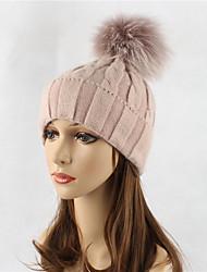 Недорогие -Жен. Шапки Широкополая шляпа Лыжная шапочка - Чистый цвет Шерсть, Однотонный