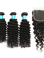 cheap -Brazilian Hair Deep Wave Classic Human Hair Weaves High Quality Hair Weft with Closure Daily