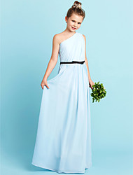 cheap -Sheath / Column One Shoulder Floor Length Chiffon Junior Bridesmaid Dress with Bow(s) Sash / Ribbon Side Draping by LAN TING BRIDE®