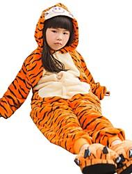 Kigurumi Pajama Tiger Costume Onesie Pajama Flannel Fabric Cosplay For Kid Animal Sleepwear Christmas Festival / Holiday