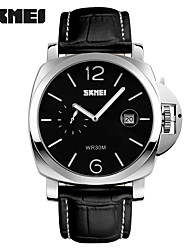 cheap -Men's Fashion Watch Wrist watch Quartz Calendar Water Resistant / Water Proof Large Dial Genuine Leather Band Black
