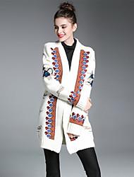 preiswerte -Damen Druck Street Schick Ausgehen Lässig/Alltäglich Mantel,V-Ausschnitt Herbst Winter Lange Ärmel Lang Baumwolle Andere Stickerei